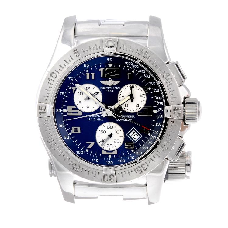 BREITLING - a gentleman's stainless steel Emergency Mission chronograph bracelet watch