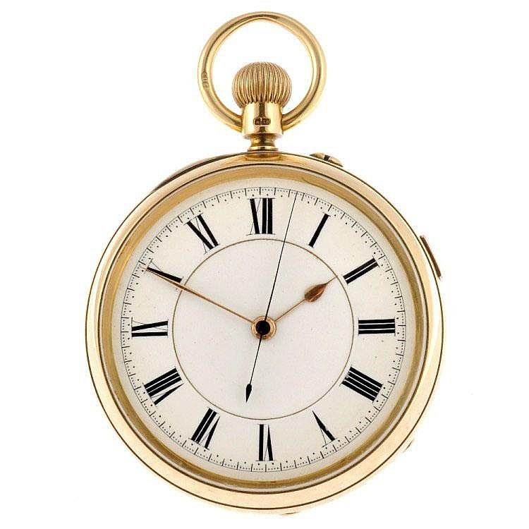 An 18ct gold keyless wind open face centre seconds pocket watch.