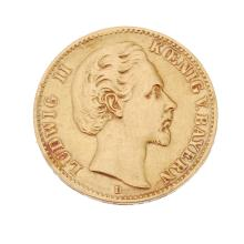 Germany, Bavaria, Ludwig II, gold 10-Mark 1877D.