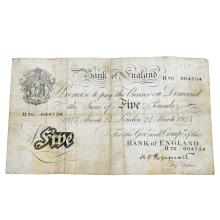 Bank of England, Peppiatt white Five-Pounds, 24 March 1945.