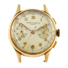 BAUME & MERCIER - a gentleman's yellow metal chronograph watch head.