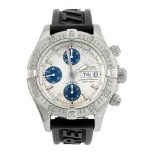 BREITLING - a gentleman's stainless steel Aeromarine Superocean chronograph wrist watch.