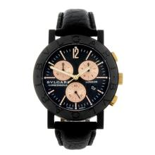 BULGARI - a limited edition gentleman's crbon fibre Carbongold London chronograph wrist watch.