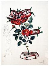 Salvador Dali Florals Rose Hand Signed # Dali Archives Authentic
