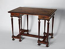 A neoclassical mahogany and ebony parquetry side table with overhanging table top with knee hole, two drawers tapering column legs connected by a H framed stretcher supported ball feet36 x 27.5 - 91 x  69.5 cm