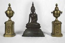 A Pair of Bronze Chenets