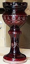 Small Dark Red Hallow Turkey Crystal Vase