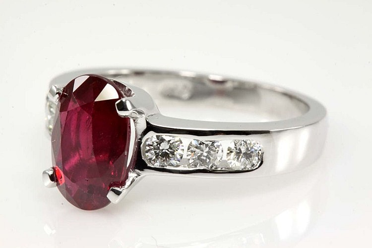 Oval Ruby 2.20ct and Diamond Ring