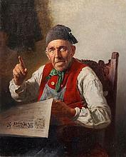 LUDWIG KANDLER, Bauer bei der Zeitungslektüre