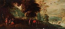 JAN BREUGHEL II, Landschaft mit einer Pilgerfamilie und Bauer mit Esel