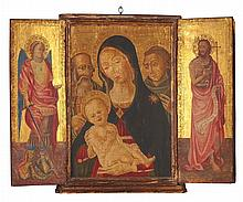 ITALIENISCHE SCHULE 19. JH. IN DER ART DES 15. JH. , Triptychon: Die hl. Familie mit dem hl. Antonius
