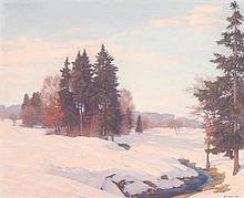 EMIL BAUER, Winterlandschaft mit Bach und Nadelbäumen im Abendlicht