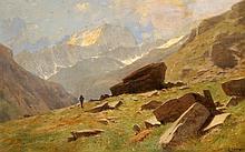GUSTAVE EUGÈNE CASTAN, Vue du Valais - A Mauvoisin - Le fond de la Vallée et Mont Brulé
