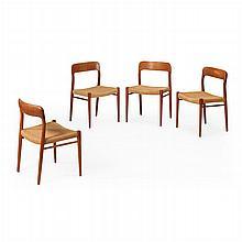NIELS OTTO MØLLER, Vier Stühle, Modell um 1960