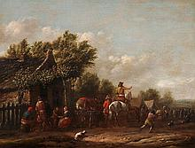 BARENT GAEL  Haarlem 1630/1635-1698 Amsterdam  Gegenstücke: Dorf mit Reiter und Figurenstaff