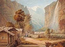 ADOLPHE JEAN BAPTISTE BAYOT  Alexandria 1810-1866  Lauterbrunnental von Wengen mit Staubbach