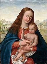 Madonna mit Kind, die Hand zum Segensgestus erhoben