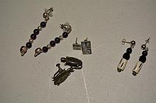 (4) Earring sets, 3 sterling, 1 not sterling