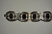 Sterling Silver Bracelet with black faces, .89 T oz