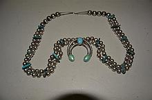 Navajo Necklace in sterling and turquoise, 24