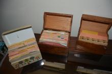 3 boxes of recipe cards