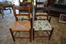4 early chairs, 3 matching upholstery