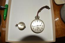 Watches, one small with see through back, pocket watch is made by Hamilton
