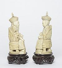 A pair of ivory carvings China, 19th Century