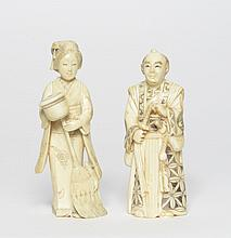 Pair of carved ivory Japan, 19th Century
