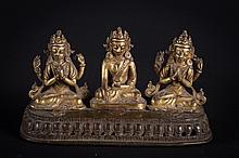 A bronze triptych Nepal, early 18th-19th Century