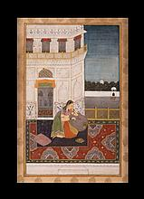 A miniature depicting a lady on a terrace India, Bikaner School, 19th Century
