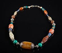 A cornelian, amber and turquoise necklace Nepal, 20th Century