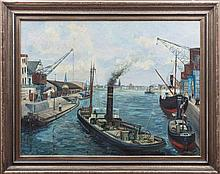 A river port scene France, early 20th Century