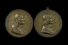 Two plaque - bronze medals signedJeanVarin France, 17th Century