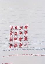 EliseoMattiacci(Cagli 1940) Idea per coprire un pezzo di mare da molte lenzuola bianche (Idea for covering a bit of the sea with lots of white sheets), 1969, mixed media on paper
