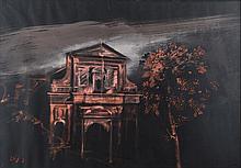 Alberto Sughi(Cesena 1928 - Bologna 2012) La chiesa e l'albero(The church and the tree), 1972/73, tempera on card