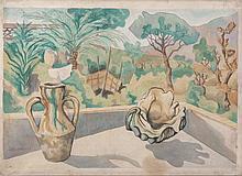 ArturoCiacelli(Rome 1883 - Venice 1966) Paesaggio di Capri (Landscape on Capri), 1937, mixed media on canvas