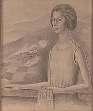 Ubaldo Oppi ( Bologna 1889 – Vicenza 1942 ) Ritratto di Dhely (Portrait of Dhely), 1923/1924, charcoal on board