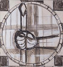 Bruno Saetti( Bologna 1902 - Bologna 1984 ) Studi per affresco (Studies for a fresco), mixed technique on canvas-backed paper