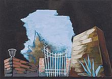 "EnricoPrampolini(Modena 1894 - Rome 1956) Strano Interludio ""giardino"" (Strange Interlude ""garden""), 1940, tempera on card"