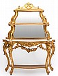 A gilt console table with shelves France/Italy, first hlf of 19th century