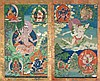 A diptych representing Vajra-Dharma and Ghantapada China/Tibet, late 18th-19th Century