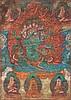 A Thangka depicting a wrathfuldeity Tibet, 19th Century