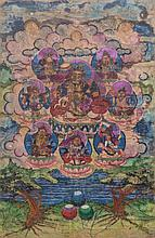 A Thangka depicting Jambhala Mongolia (?), 20th Century