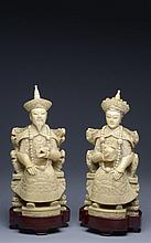 A pair of ivory carvings depicting emperor and empress China, early 20th Century
