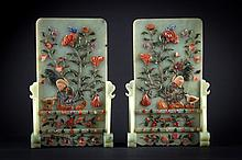 A pair of table screens China, Qing Dynasty, 19th Century