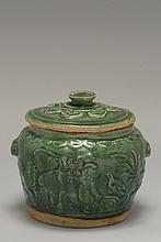 An earthenware green jar China, Ming Dynasty, 15th century