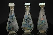 Three painted glass snuff bottles China, Republic period