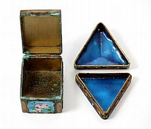 2 OLD CHINESE ENAMELED FLORAL COVERED BOXES