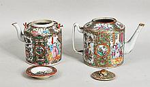 Two Rose Medallion Porcelain Teapots w/Lids